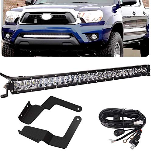32'' 150W Single Row LED Light Bar w/Wiring Kit & Lower Bumper Grille Mount Bracket for Toyota Tacoma 2016 2017 2018 2019