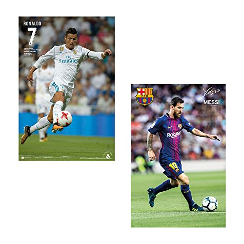 LIONEL MESSI BARCELONA + RONALDO REAL MADRID WALL POSTERS 2017 (1 OF EACH PLAYER) 24' x 36' OFFICIALLY LICENSED (Messi Lionel Poster)