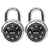 Combination Lock, Stainless Steel, 1 7/8'' Wide, Black Dial, 2/Pack - MLK1500T