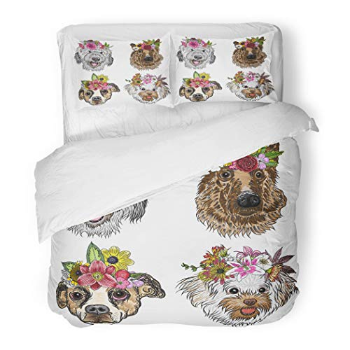 Emvency Bedding Duvet Cover Set Full/Queen (1 Duvet Cover + 2 Pillowcase) Different of Cartoon Dogs with Exotic Floral Wreath Cute Puppy Girls with Flowers Hotel Quality Wrinkle and Stain -