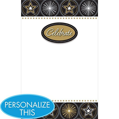 Party Perfect Glitter Starz Printable Invitation Sheets, Paper, 8'' x 5'', Pack of 12
