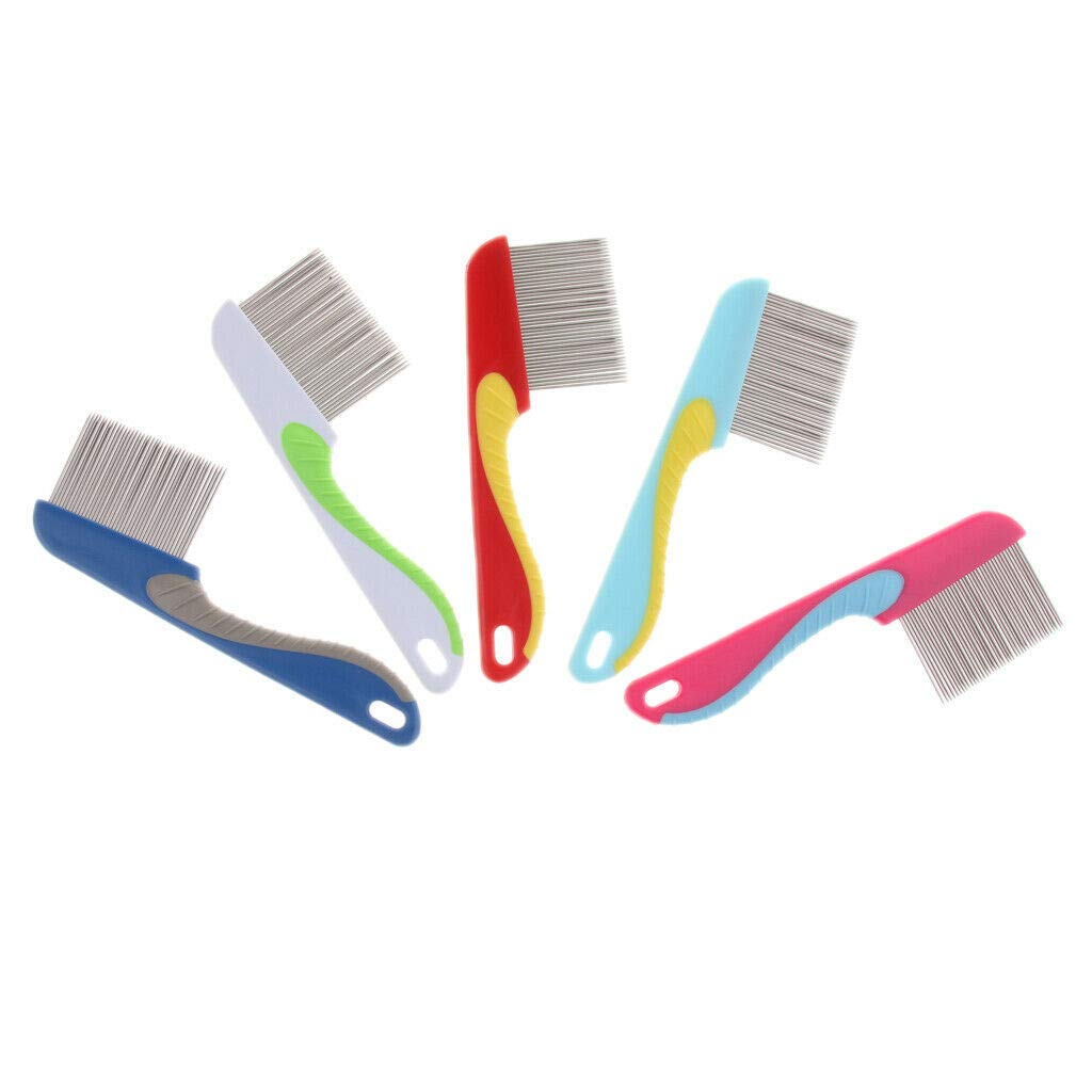 Agordo 5Pcs Plastic Pet Dog Hair Flea Comb Stainless Pin Dog Cat Grooming Lice Comb by Agordo (Image #3)