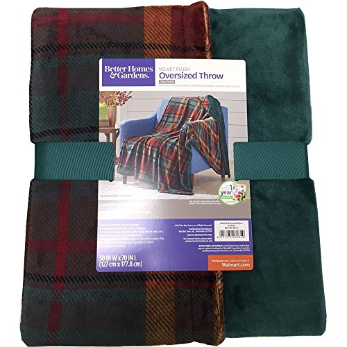 Better Homes and Gardens Throw Blanket 50 Inch X 70 Inch (Teal Plaid) from Better Homes and Garden