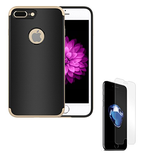 Apple iPhone 7 Plus 2 in 1 Combo: Metallic Trim Cellphone Case + Tempered Screen Protector - Gold -