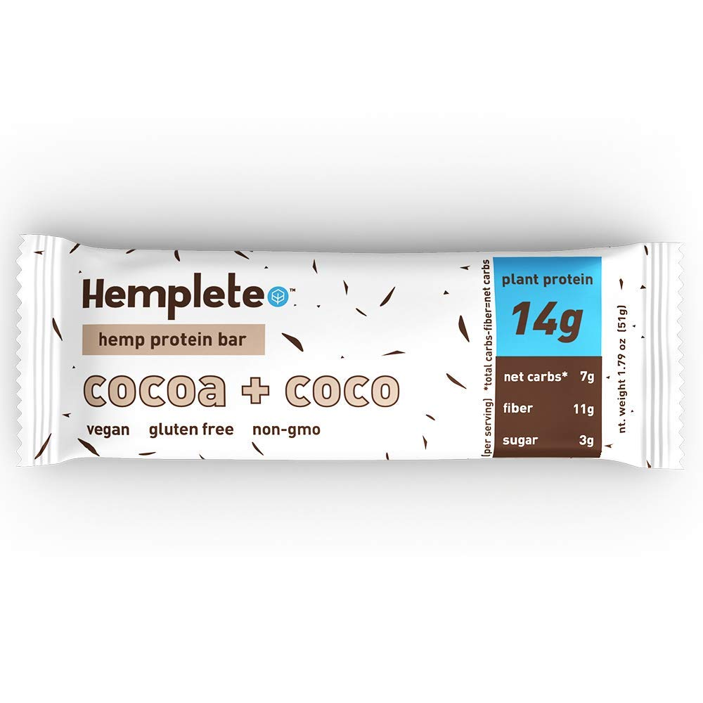 Hemp Protein Bar by Hemplete - Cocoa + Coco, Vegan Whole Food Based, 1.79 Ounce (Box of 12) Paleo, Low Carb Friendly Snack With Healthy Fats