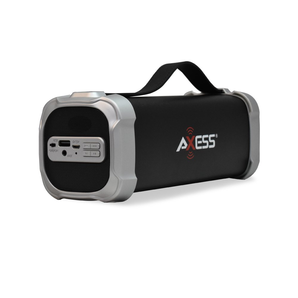 AXESS SPBT1073 Portable Indoor/Outdoor Bluetooth Media Speaker with Built-In 3.5mm Line-In Jack Rechargeable Battery and Subwoofer Gray