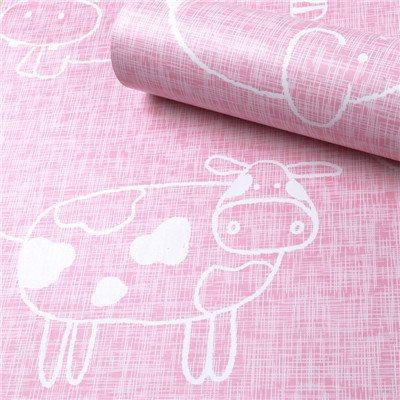 HOYOYO 17x78 Inches Self-Adhesive Shelf Liner, Moisture Proof Drawer Paper Shelf Liner Mildew Proof Antifouling Contact Paper, Pink Animals (Contact Paper Decorative Purple)