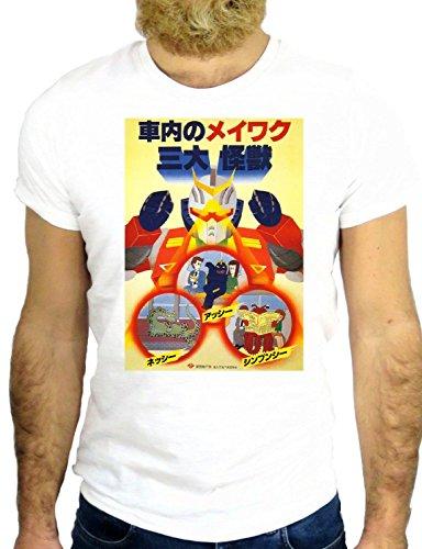 T SHIRT Z0750 ROBOT VINTAGE ROCK JAPAN MANGA TOKYO FUN ROCK HIPSTER GGG24 BIANCA - WHITE M