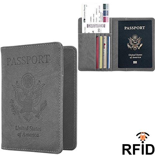 Passport Wallet, Ankoor RFID Blocking Passport Holder Leather Case Cover - Gray
