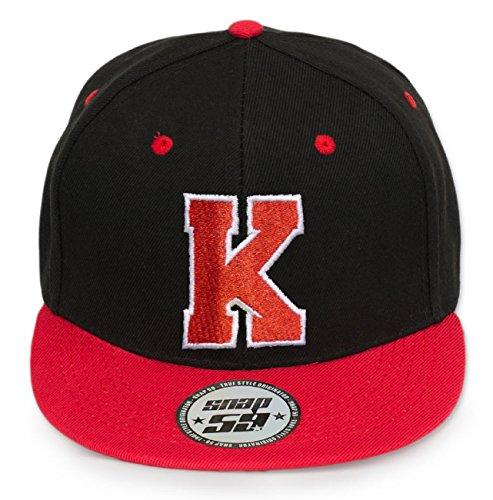 roja o alfabeto Gorra con distintas las negra 4sold letras blanca flexible K del ABC q1HtAH