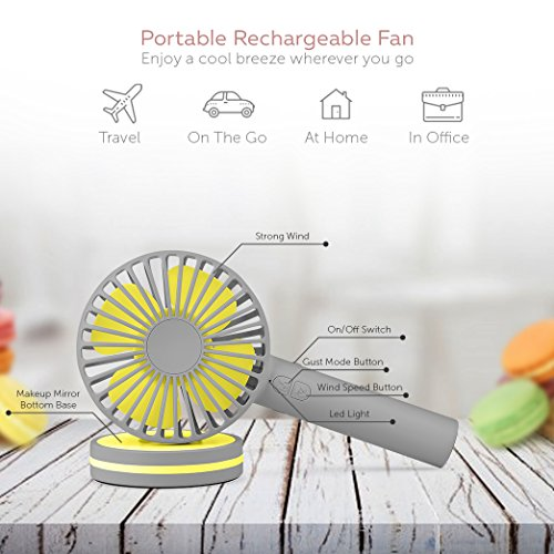 Function Labs Personal Mini USB Handheld Cooling Fan - Rechargeable, Compact, Portable, Adjustable 3 Fan Speed and Perfect for Kids/Camping- Comes with Magnetic Mirror Base (Grey Yellow) by Function Labs (Image #1)