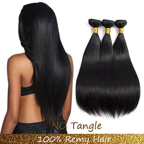 9A Malaysian Human Hair 3Bundles Straight Remy Hair Extensions Human Hair Black Double weft by Lovenea(14 16 18) ...