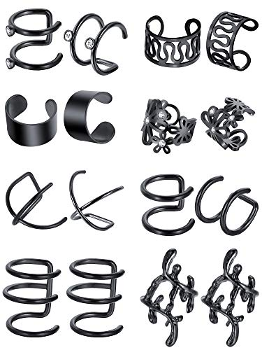 Blulu 8 Pairs Stainless Steel Ear Cuff Non Piercing Clip on Cartilage Earrings for Men Women, 8 Various Styles (Black) ()