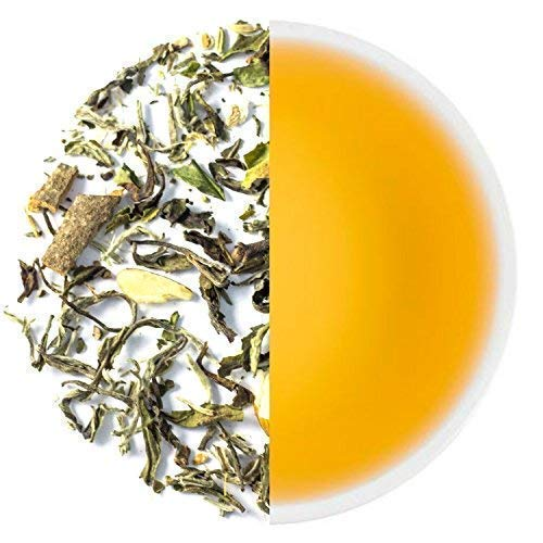 Tearaja White Tea Ayurvedic Chai(1.77 Ounce 50 Gms, 30 Cups)Loose Leaf Tea Contains Darjeeling White Tea, Almonds Etc 100% Natural Ingredients. Shipped from Source in India to your doorstep