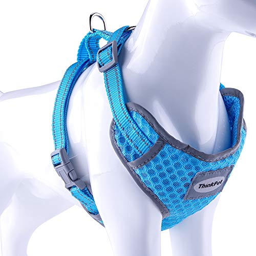 ThinkPet Reflective Breathable Soft Air Mesh No Pull Puppy Dog Vest Harness Neon Blue Neck 10-18 in/Chest 15-23 in