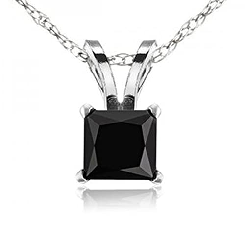 10K Gold Princess Cut Black Diamond Ladies Solitaire Pendant