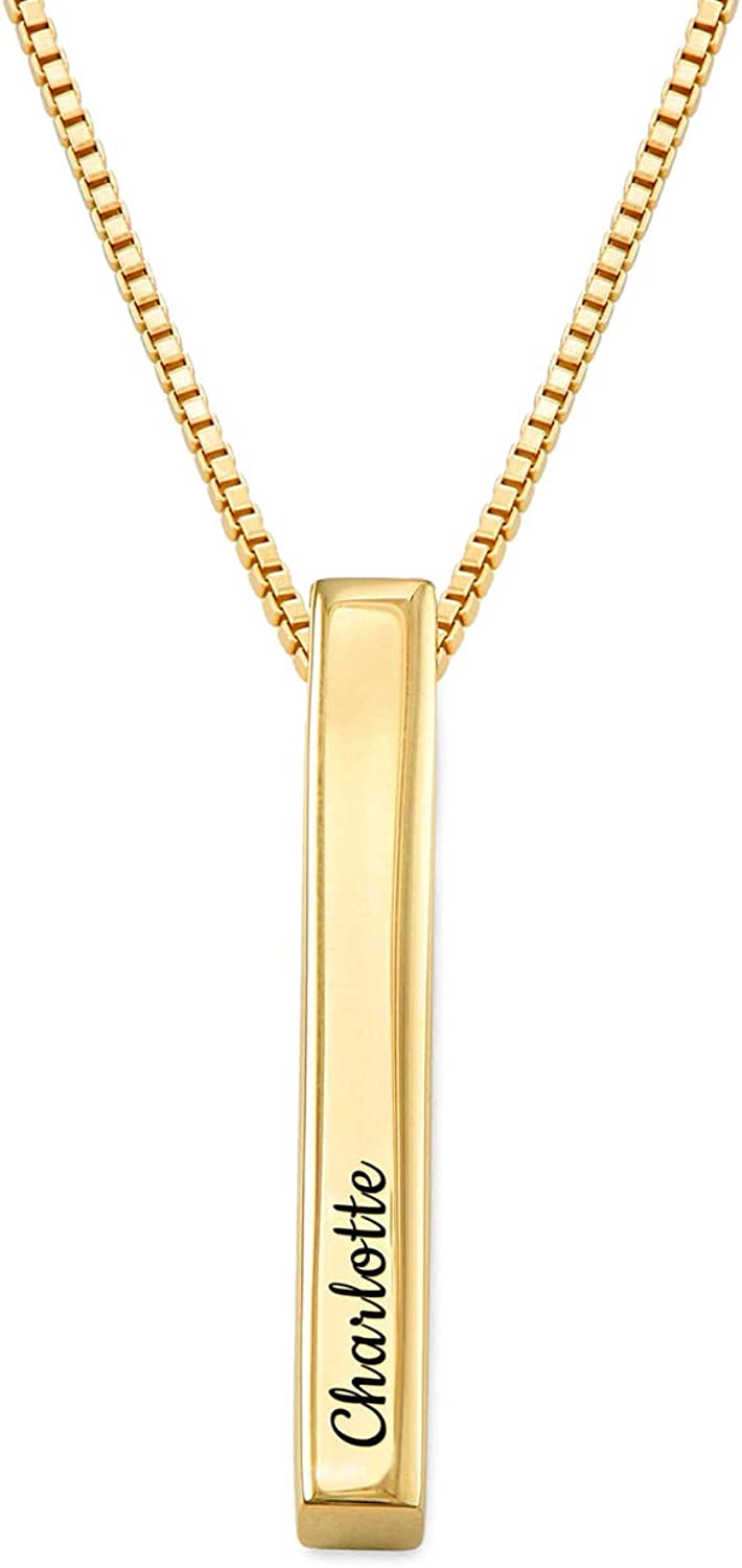 Engravable Necklace Gift For Her Customized Necklace Personalized Necklace Long Bar Pendant Bar Necklace