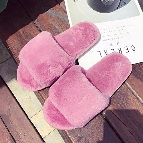 Hunpta Damen Flauschige Faux Pelz Flache Pantoffel Flip Flop Sandale Schuhe Hot Pink