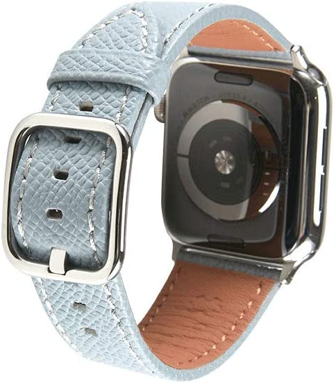 SONAMU New York Epsom Leather Band Compatible with Apple Watch 38mm 40mm 42mm 44mm, Premium Leather Strap Square Buckle Compatible with iWatch Series 5/4/3/2/1 (Sky blue, 38mm/40mm)