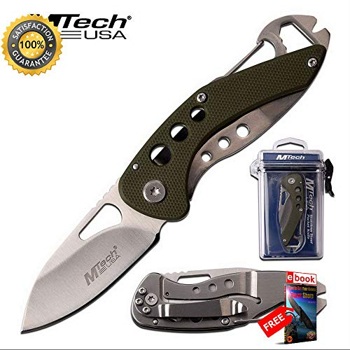 - Minimalist Folding Sharp KNIFE Mtech Green Low Profile Utility Multi-Tool Blade + Case Combat Tactical Knife + eBOOK by Moon Knives
