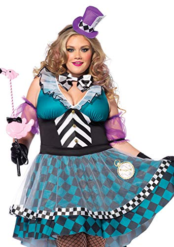 Leg Avenue Women's Plus-Size 4 Piece Manic Mad Hatter, Black/Blue, 1X/2X -