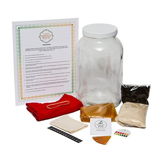 DIY Kombucha Brewing Starter Kit - Organic Raw Kombucha Scoby Making kit - Fermented Tea Starter Culture Home Brew Supplies | The Complete Kombucha Kit