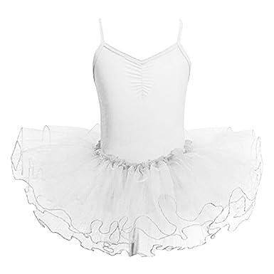 22be1ff5c33b Arrowhunt Girls' Camisole Leotard Dancing Ballet Tutu Dress Skirt  Gymnastics Costumes White