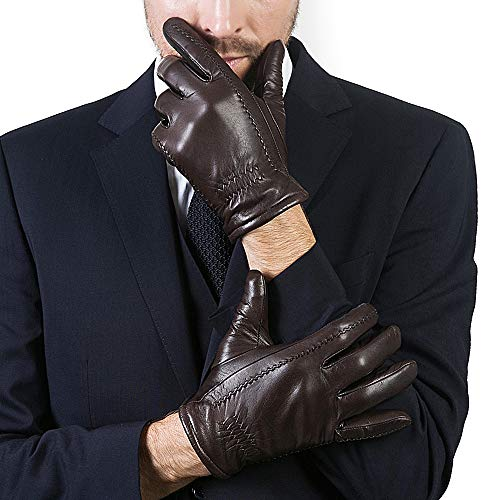 YISEVEN Men's Buttery-Soft Lambskin Leather Gloves Fleece Lined Spring Winter Hand Warm Fur Heated Lining Dress and Motorcycle Driving Real Luxury Stylish Holiday Xmas Gift,Brown ()