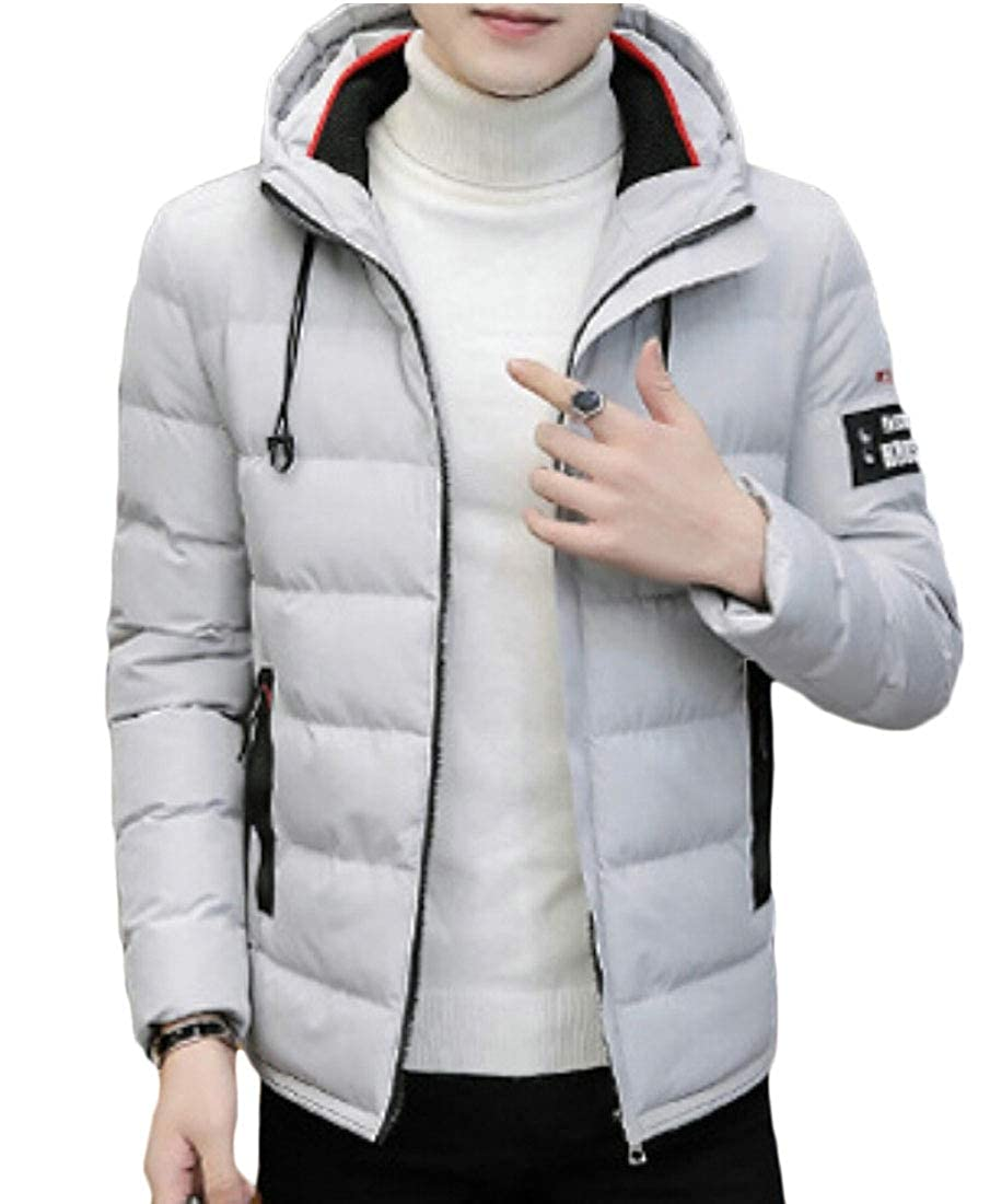 WSPLYSPJY Mens Winter Thick Coat Quilted Jacket Zipper Warm Padded Puffer Coat Outwear