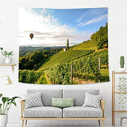 BEIVIVI Wall Tapestry Wall Hanging Vineyards with hot air Balloon Near a Winery Before Harvest in The Tuscany Wine Growing Area Italy Europe Polyester Fabric Tapestries for Bedroom Living Room Dorm