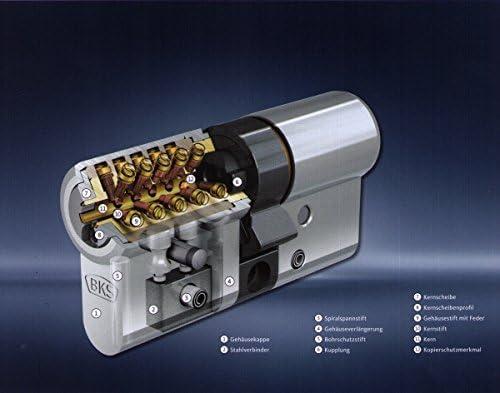 BKS Profilzylinder Janus 46 ink Sicherungskarte mit5 Schl/üsseln// VDS zertifiziert Ma/ße 31 31 Chrom Nickelstahl mit Not und Gefahrenfunktion