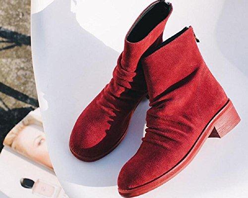 Martin cranio pelle Casual velluto Tondo scarpe di Fold nabuk di stivali Stivaletto Vintage in red grande 39 più 38 testa RED basso e Patch donne qqwt87Y