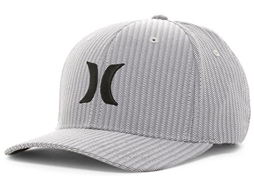 Hurley Men's Iconic Dri Fit Flexfit Baseball Cap Hat (Large/XL, Black) (Hat Hurley Embroidered)