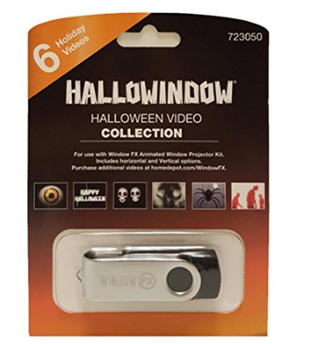 WindowFX Projector Halloween Additional 6 Video Collection USB HALLOWINDOW, Skulls, Spiders, Zombies, Eyeball -