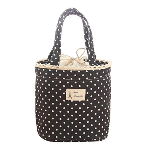 Lunch Bag, Clearance! Tloowy Portable Thermal Insulated Lunch Tote Bag Cute Dots Print Lunch Box Organizer Holder Cooler Bag for Women, Kids, Girls, and Teen Girls (Black) (Drawstring Tote Print Handbag)