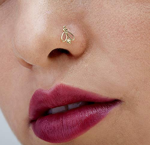 Nose Stud: Unique Handmade Butterfly Solid 14k Yellow Gold Nostril Jewelry in 20 Gauge For LEFT Side ()
