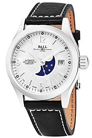 Ball Engineer II Ohio Moonphase Silver Face Date Swiss Automatic Black Leather Strap Mens Watch (Ball Watch Engineer Ohio)