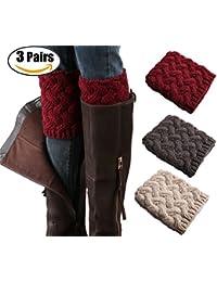 3 Pairs Women Short Boots Socks Crochet Knitted Boot Cuffs Short Leg Warmer