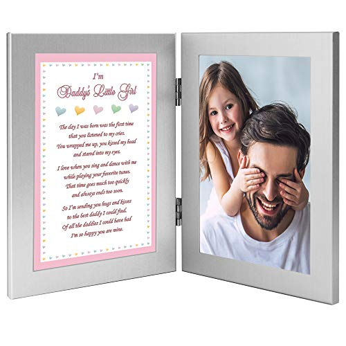 Poetry Gifts Daddy's Little Girl Sweet Gift from His Daughter, Add 4x6 Inch Photo to Double Frame (Heart Daughter Frame Silver)