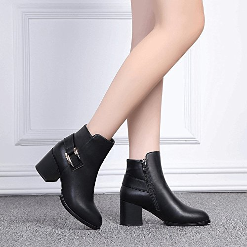 Short women's high-heeled boots Martin boots female spring coarse and wild spring single Shoes, Leather,34, fall.