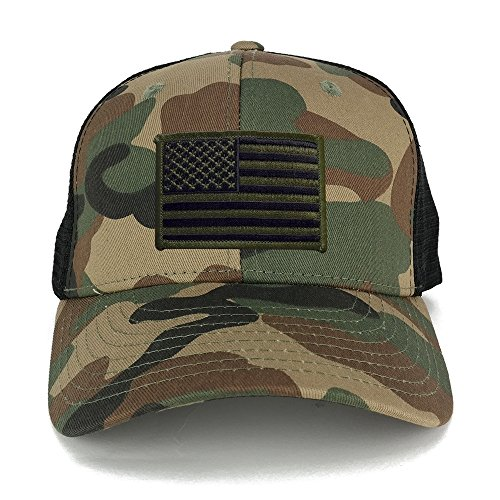 US American Flag Embroidered Iron on Patch Adjustable Camo Trucker Cap - WWB - Black (Camo Trucker Hat Cap)