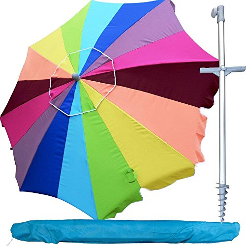 Snail 8 ft 16 Panel Jumbo Vented Fiberglass Tilt Beach Umbrella w/Sand Anchor (Rainbow) by Snail