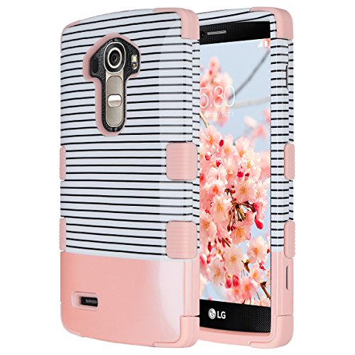 ULAK LG G4 Case, 3 in 1 Shield Shock Absorbing Case with Hybrid Cover Soft Silicone + Hard PC Material Design for LG G4 (5.5 inch) 2015 Release (Minimal Rose Gold Stripes)