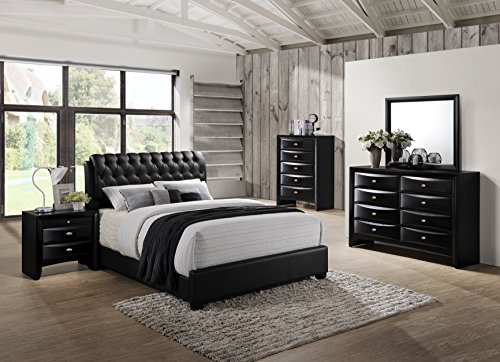 Roundhill Furniture Blemerey 110 Wood Bonded Leather Bed Group with Queen Bed, Dresser, Mirror, Night Stand and Chest, Black (Wood Nightstand And Mirror)