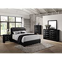 Roundhill Furniture Blemerey 110 Wood Bonded Leather Bed Group with Queen Bed, Dresser, Mirror, Night Stand and Chest, Black
