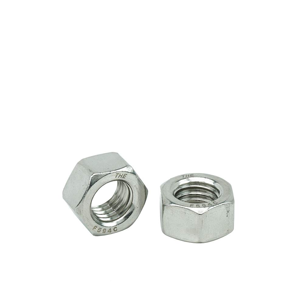 Stainless Steel 18-8 Quantity 5 by Bridge Fasteners 1-8 Hex Nuts Coarse Plain Finish
