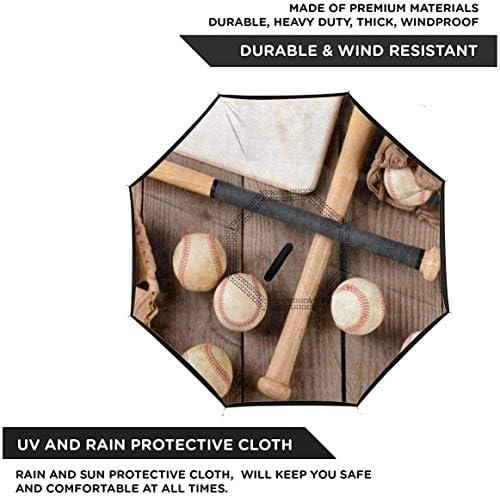 木のスポーツのビンテージ野球 ユニセックス二重層防水ストレート傘車逆折りたたみ傘C形ハンドル付き