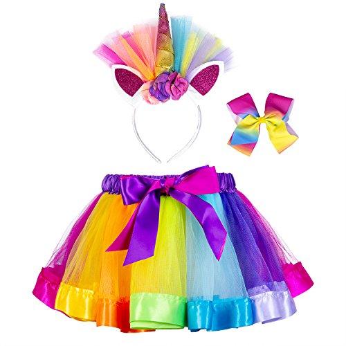 Little Girls Layered Unicorn Rainbow Tutu Skirt Dress up with Headband Hair Bows (Rainbow, M=2-4 Years) -