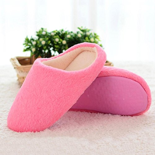Sunfei Women Soft Warm Indoor Candy Colors Cotton Slippers Home Anti-slip Shoes Pink 3XXcaXy