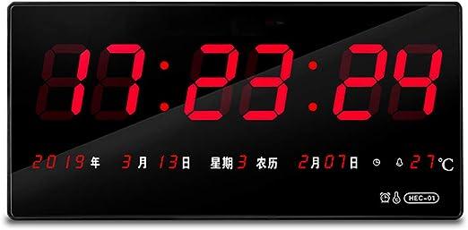 LWYYH Reloj De Pared Digital, Reloj Despertador Calendario LED ...